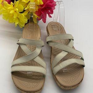 CROCS off white leather cork wedge sandal Sz 9